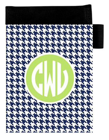 Monogrammed Small Portfolio Notebook Pad  www.tinytulip.com Navy Houndstooth Pattern with Solid Circle Lime Green Circle Font