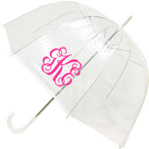 Monogrammed Dome Umbrella  www.tinytulip.com Hot Pink Interlocking Font