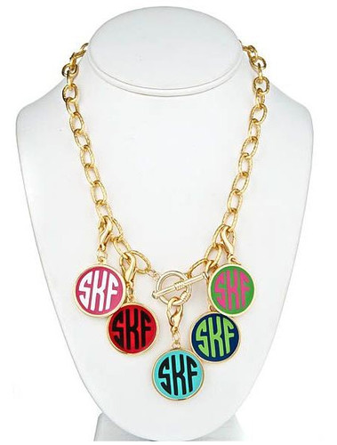 Gold Fashion Enamel Monogram Charm Toggle Necklace  www.tinytulip.com