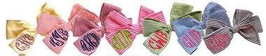 Monogrammed Seersucker Cotton Hairbow   www.tinytulip.com