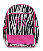 Monogrammed Quilted Zebra Backpack  www.tinytulip.com Hot Pink with Hot Pink Interlocking Font