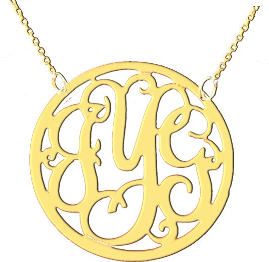 cut out framed script monogram necklace we