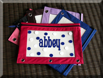 Monogrammed Pencil Case Hot Pink Case with Royal Blue Chachie Font & White Second Polka Dot Color