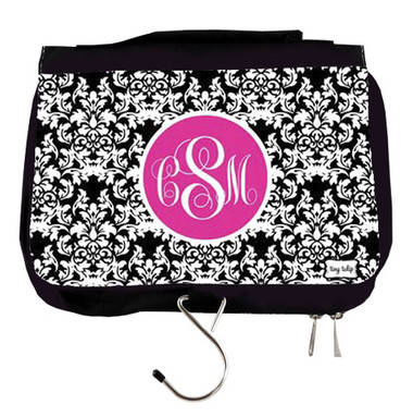 Monogrammed Travel Cosmetic Hanging Bag   www.tinytulip.com Black Damask with Hot Pink Solid Circle Emma Script Font