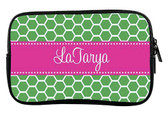 Monogrammed Kindle Fire Sleeve Case   www.tinytulip.com Kelly Green Honeycomb with Hot Pink Classic Dot Ribbon Cursive Font