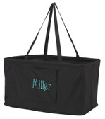 Monogrammed Utility Ultimate Carry All Tote   www.tinytulip.com Black with Turquoise Victorian Font
