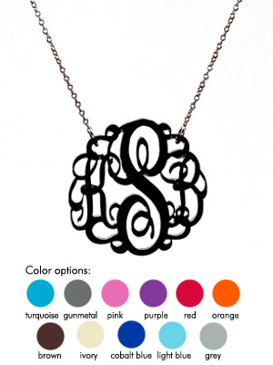 Monogrammed Acrylic Necklace  www.tinytulip.com Black