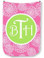 Monogrammed Can Koozie  www.tinytulip.com Lilly Pink Zinnias with Lime Green Solid Circle Victorian Font