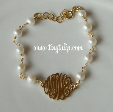 Monogrammed Cut Out 18K Plated Sterling Bracelet with Fresh Water Pearls   www.tinytulip.com