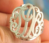 Double Layer Sterling Silver Monogram Cut Out Ring  www.tinytulip.com