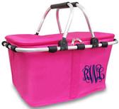 Hot Pink Insulated Market Basket Monogrammed  www.tinytulip.com Navy Interlocking Font