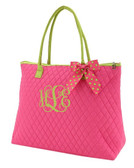 Hot Pink Quilted Tote with Hot Pink & Lime Green Polka Dot Bow   www.tinytulip.com Lime Green Interlocking Font