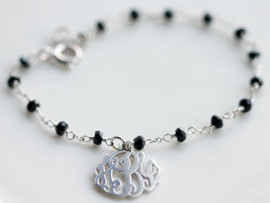 Monogrammed Cut Out Sterling Silver Bracelet with Black Spinels   www.tinytulip.com