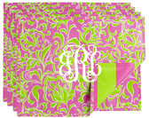Pink and Green Preppy Monogrammed Reusable Placemats Set of 4