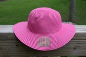 Girls Monogrammed Beach Straw Hat  www.tinytulip.com Hot Pink with Lime Green Interlocking Font