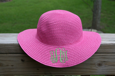 Girls Monogrammed Beach Straw Hat  www.tinytulip.com Hot Pink with Lime Green Interlocking Font