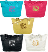 Monogrammed Straw Shoulder Tote www.tinytulip.com