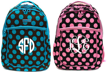 Polka Dot Monogrammed Large Computer Backpack   www.tinytulip.com
