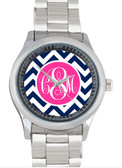 Monogrammed Stainless Steel Boyfriend Watch  www.tinytulip.com Navy Chevron with Solid Circle Hot Pink Emma Script Font Bezel