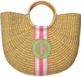 Monogrammed Half Moon Beach Basket Bag