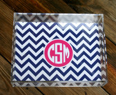 Personalized Lucite Tray  www.tinytulip.com Navy Chevron with Solid Circle Hot Pink Circle Font