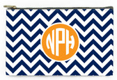 Customized Pencil Case Monogrammed  www.tinytulip.com Navy Chevron Pattern with Solid Circle Orange Circle Font