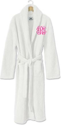 Monogrammed Kashwere Robe Adult  www.tinytulip.com White Hot Pink Interlocking Font