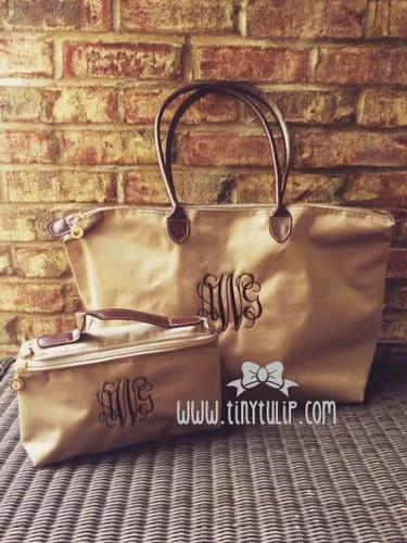 Monogrammed Medium Longchamp Style Tote Bag  www.tinytulip.com Brown Interlocking Font on Taupe