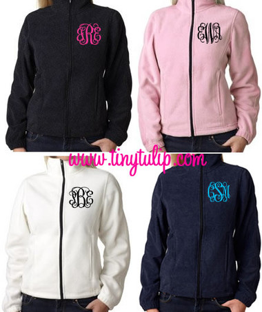 Monogrammed Fleece Jacket North Face Style  www.tinytulip.com