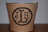 Monogram Burlap Galvanized Bucket Tub   www.tinytulip.com