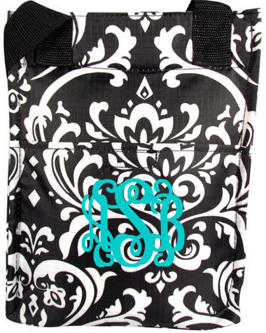 Monogrammed Damask Lunch Tall Tote  www.tinytulip.com Turquoise Interlocking Font