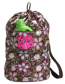 Bliss Brown Floral Laundry Bag  www.tinytulip.com Hot Pink Interlocking Font