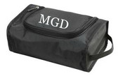 Mens Monogrammed Toiletry Bag Black with White Block Font
