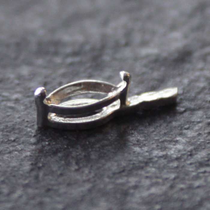 Economy Fine Silver Prong Setting - Marquise - With Side Post