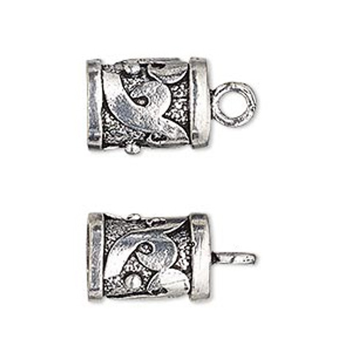 2pc Antiqued Silver-Finished Brass Cord Ends
