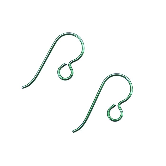 Niobium Earwire With Loop - Green - 1 Pair