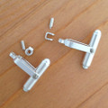 Sterling Silver Round Swivel Cufflink with Separate Joint & Rivet Pin - 1 Pair