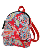 "Red Paisley Mini Backpack For 18"" Dolls"