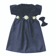 "Navy Dress and Velvet Hairband Fits 18"" American Girl Dolls"