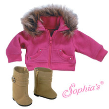 Fleece Cropped Sweatshirt with Rhinestones & Fur Trim Fits 18 Inch American Girl Dolls Jackets