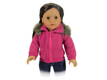 "Fleece Cropped Sweatshirt with Rhinestones & Fur Trim Fits 18"" American Girl Dolls"