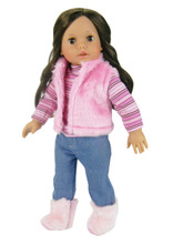 "Denim Jeans, Striped Tee and Fur Vest Fits 18"" American Girl Dolls"