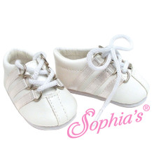 White Leather Doll Sneaker w/White Stripe Detail Fits 18 Inch American Girl Doll Shoes