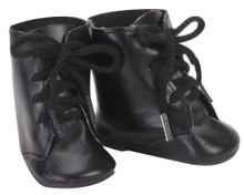 Black Lace-Up Boots Fits 18 Inch American Girl Doll Shoes