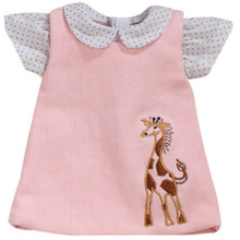 "Pink Corduroy Giraffe Dress & Blouse Set Fits 15"" Baby Dolls"