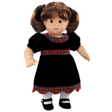 Tartan Trim Black Velvet Baby Doll Dress 15 inch Baby Dolls Fits Bitty Baby American Doll Clothes