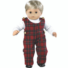Tartan Baby Doll Jumper & White Turtleneck Set 15 inch Baby Dolls Fits Bitty Baby American Doll Clothes