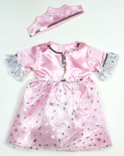 Pink Princess Doll Costume and Crown For 15 inch Baby Dolls
