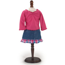 "Plaid Trimmed Denim Skirt & Top Outfit 18"" American Girl Dolls"