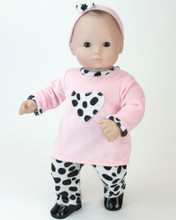 Doll Dalmatian Outfit w/ Matching Headband 15 inch Baby Dolls Fits Bitty Baby American Doll Clothes
